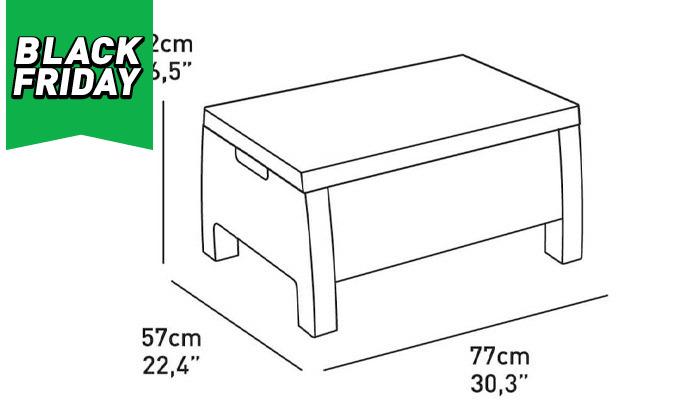 6 כתר: מערכת ישיבה בעיצוב דמוי ראטן כולל שולחן אחסון