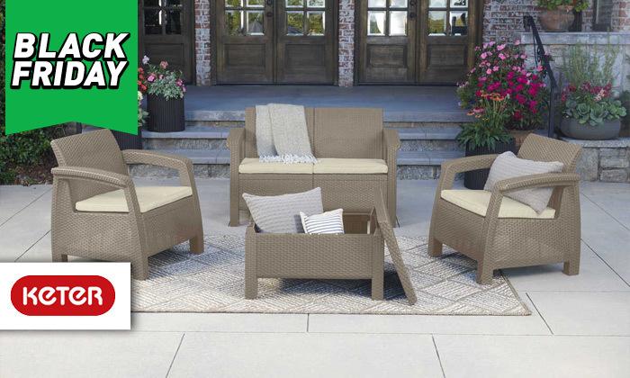 2 כתר: מערכת ישיבה בעיצוב דמוי ראטן כולל שולחן אחסון