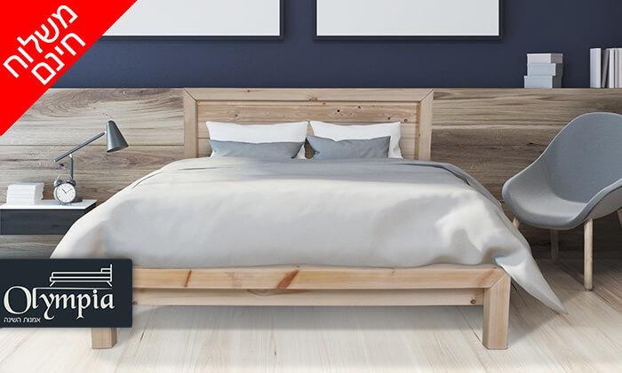 2 אולימפיה: מיטה מעץ מלא - הובלה והרכבה חינם