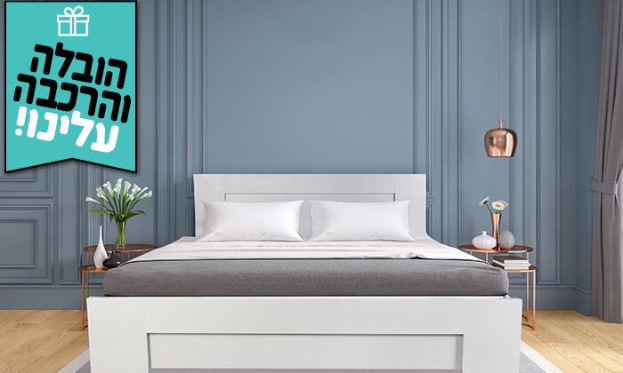 4 אולימפיה: מיטה עם בסיס עץ מלא, כולל מזרן מתנה ומשלוח חינם