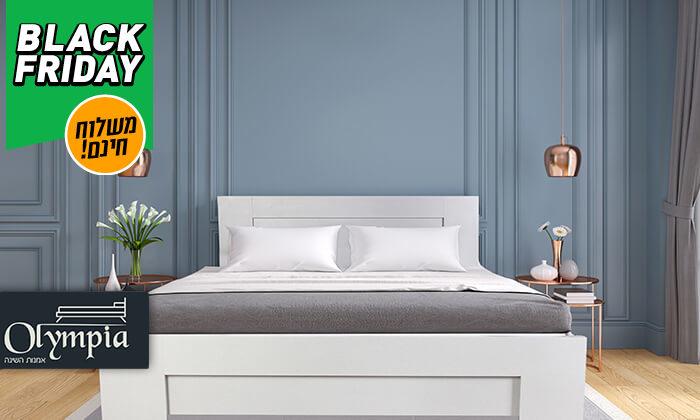 2 אולימפיה: מיטה עם בסיס עץ מלא ומזרן קפיצים - משלוח חינם