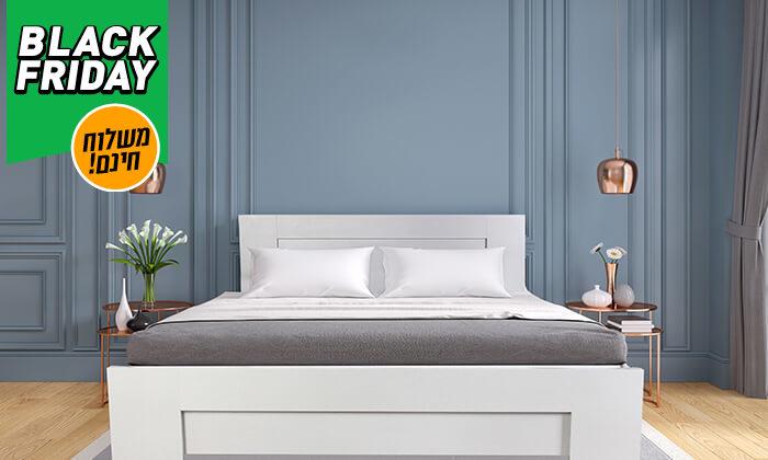 4 אולימפיה: מיטה עם בסיס עץ מלא ומזרן קפיצים - משלוח חינם