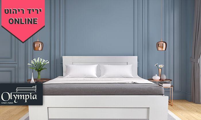 2 אולימפיה: מיטה עם בסיס עץ מלא ומזרן קפיצים