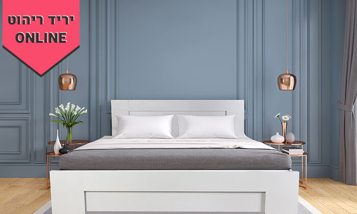 4 אולימפיה: מיטה עם בסיס עץ מלא ומזרן קפיצים