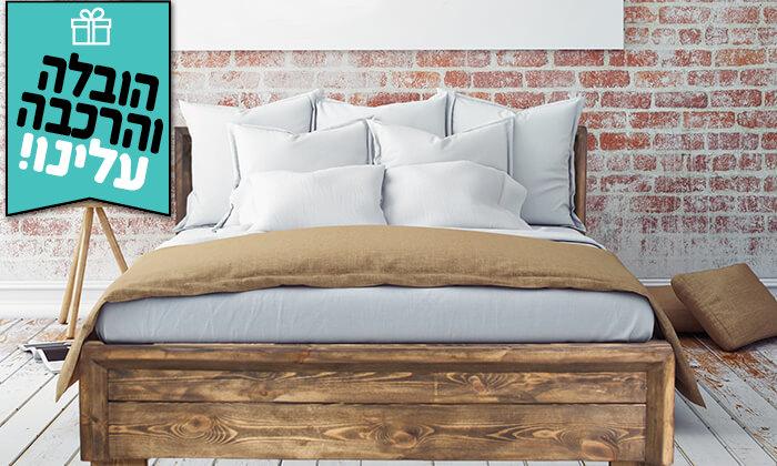 4 אולימפיה: מיטה זוגית מעץ אורן מלא - הובלה והרכבה חינם