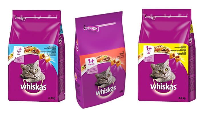 3 שק מזון יבש Whiskas לחתולים