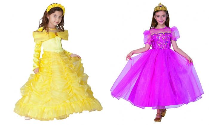 2 תחפושות נסיכות ודמויות מהאגדות לילדים לפורים