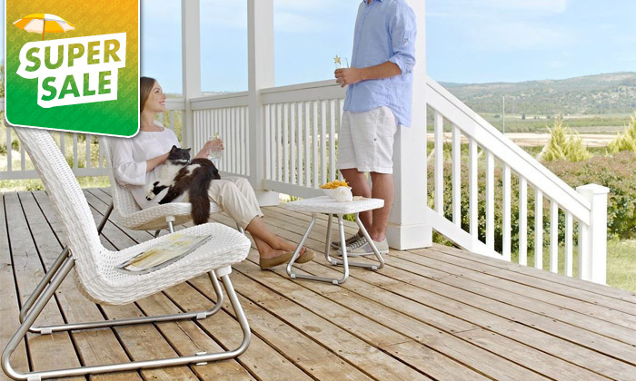 5 כתר: זוג כסאות עם שולחן, דגם ריו