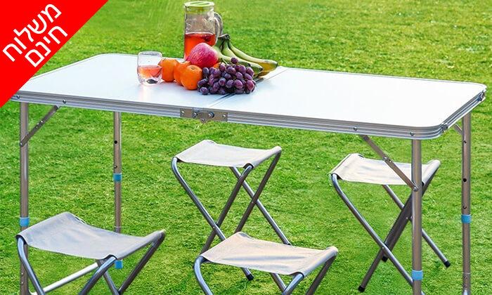 2  שולחן פיקניק מתקפל עם כיסאות - משלוח חינם