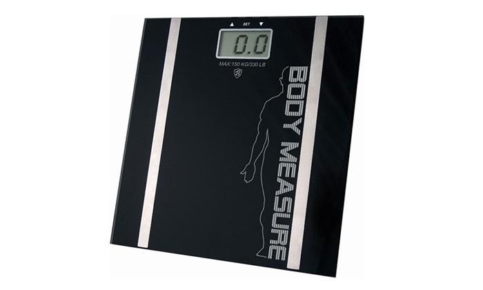 3 משקל אדם דיגיטלי עשוי זכוכית מחוסמת כולל מדידת אחוזי שומן