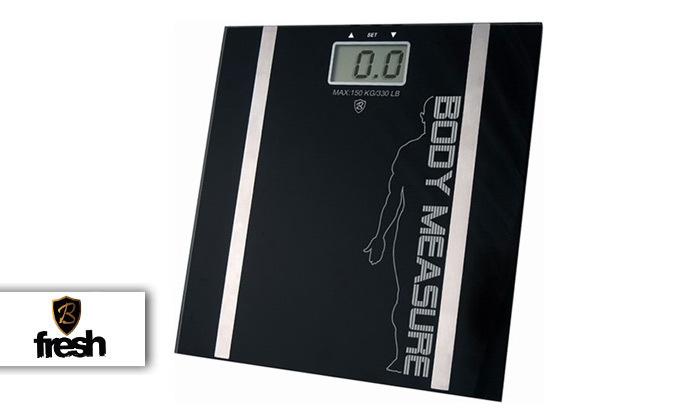 2 משקל אדם דיגיטלי עשוי זכוכית מחוסמת כולל מדידת אחוזי שומן