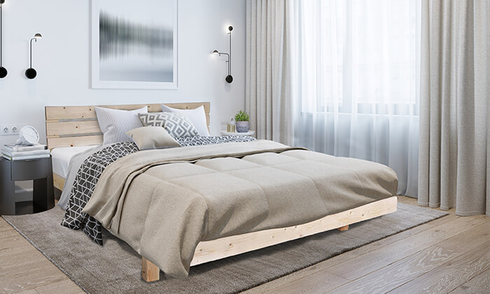 5 אולימפיה: מיטה מעץ מלא דגם 5014 עם מזרן