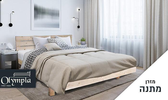 אולימפיה: מיטה מעץ מלא דגם 5014 עם מזרן