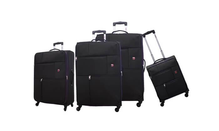 8 סט 3  מזוודות בד SWISS TRAVEL PREMIUM