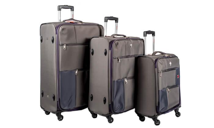 10 סט 3  מזוודות בד SWISS TRAVEL PREMIUM