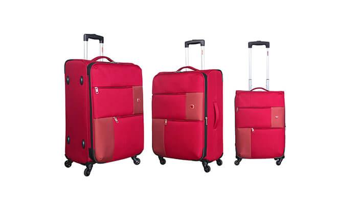 6 סט 3  מזוודות בד SWISS TRAVEL PREMIUM