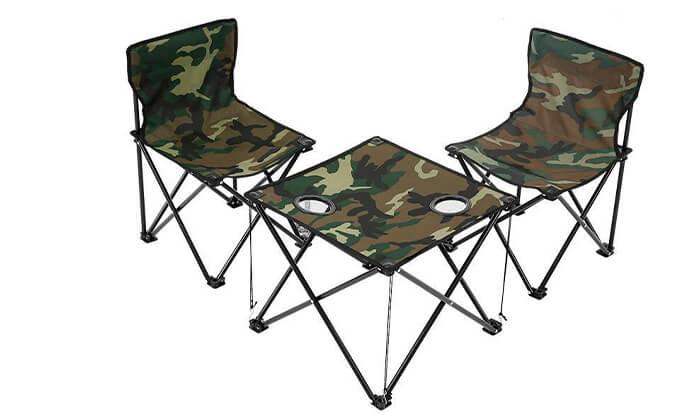 2 סט קמפינג שולחן ו-2 כיסאות מתקפליםלילדים