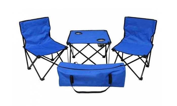 2 סט קמפינג שולחן וזוג כיסאות מתקפלים