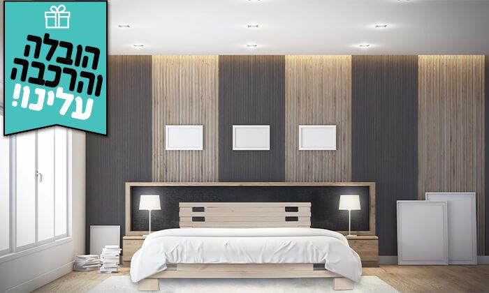 4 אולימפיה: מיטה מעץ מלא עם מזרן - הובלה והרכבה חינם