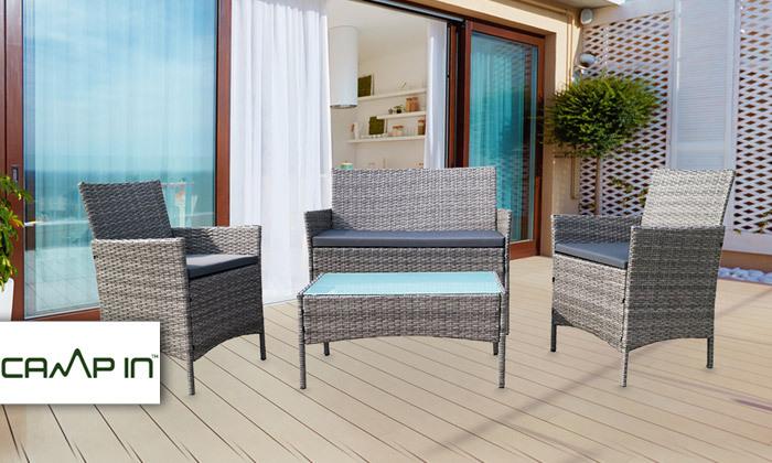 2 מערכת ישיבה לגינה עם שולחן, ספה זוגית ושתי כורסאות