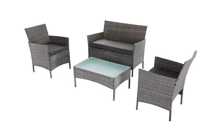 6 מערכת ישיבה לגינה עם שולחן, ספה זוגית ושתי כורסאות