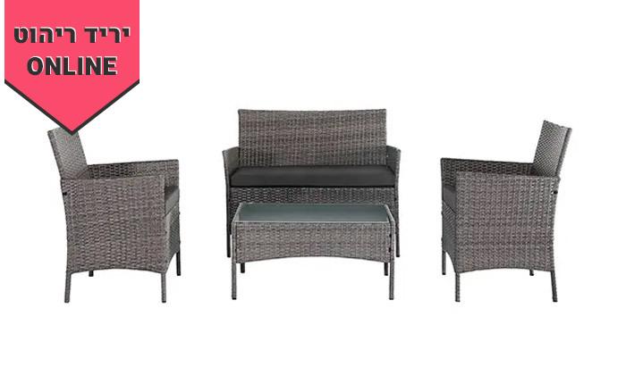 3 מערכת ישיבה לגינה עם שולחן, ספה זוגית ושתי כורסאות