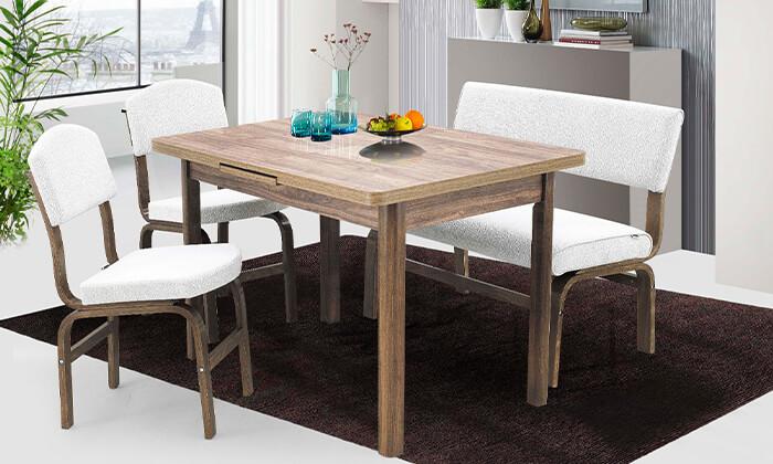 2 פינת אוכל עם 2 כסאות וספסל אור דיזיין Or Design