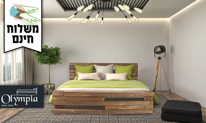 2 אולימפיה: מיטה מעץ מלא עם מזרן - משלוח חינם