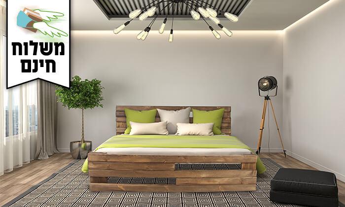 4 אולימפיה: מיטה מעץ מלא עם מזרן - משלוח חינם