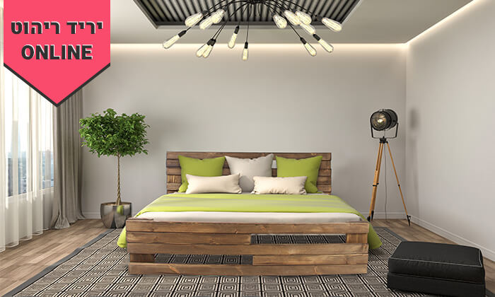 4 אולימפיה: מיטה מעץ מלא עם מזרן