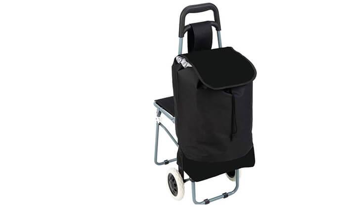 2 עגלת קניות עם כיסא מתקפל