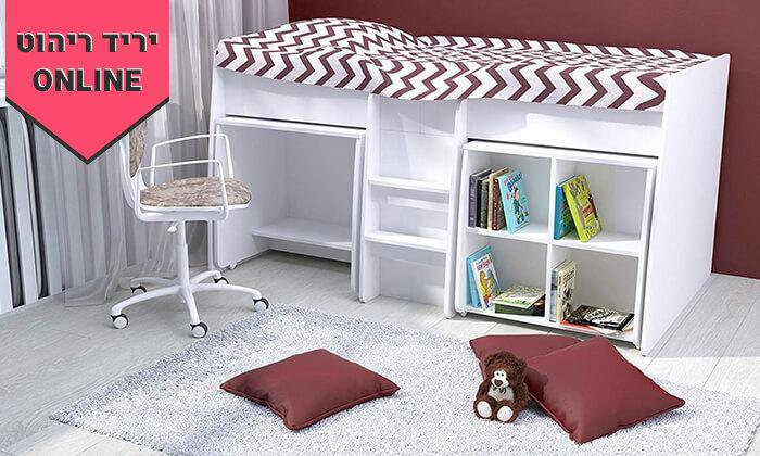 3 רהיטי סוכריה: מיטת ילדים ונוער עם סולם, כוורת ושולחן
