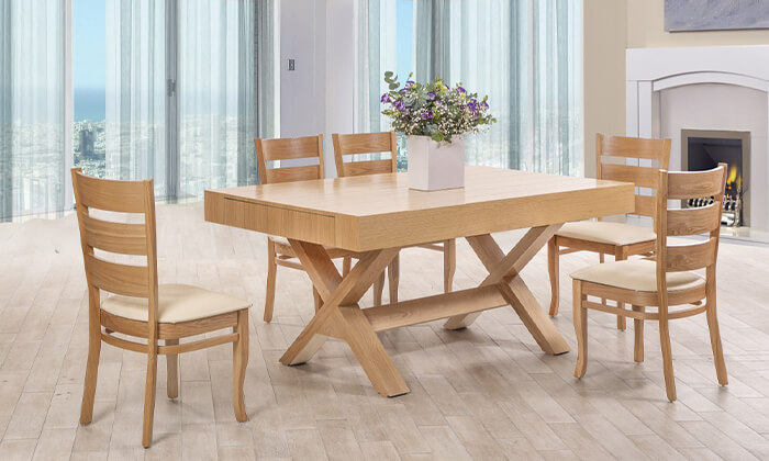 2 פינת אוכל עם 6 או 8 כיסאות LEONARDO, דגם קווינס