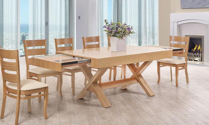6 פינת אוכל עם 6 או 8 כיסאות LEONARDO, דגם קווינס