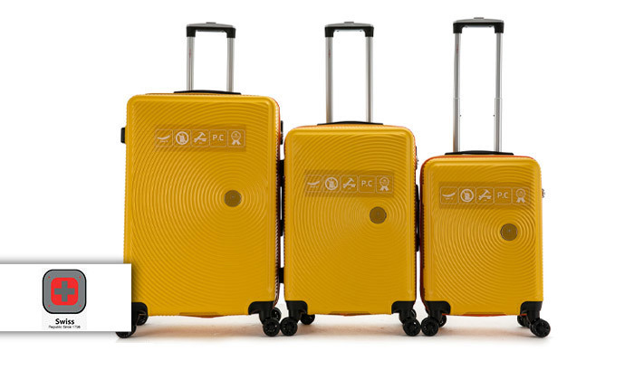 2 סט 3 מזוודות קשיחות SWISS ALPS במבחר צבעים