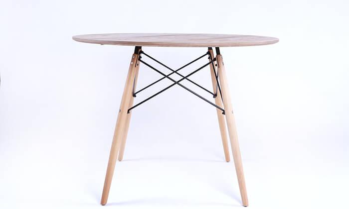 2 שולחן אוכל עגול מעץ