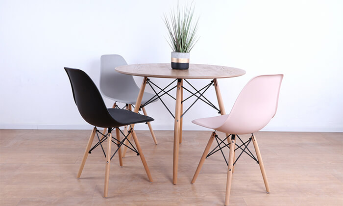 3 שולחן אוכל עגול מעץ