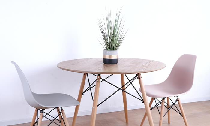 4 שולחן אוכל עגול מעץ
