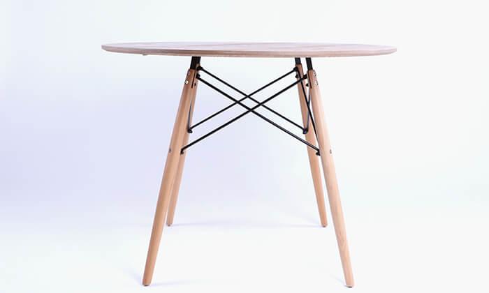7 שולחן אוכל עגול מעץ