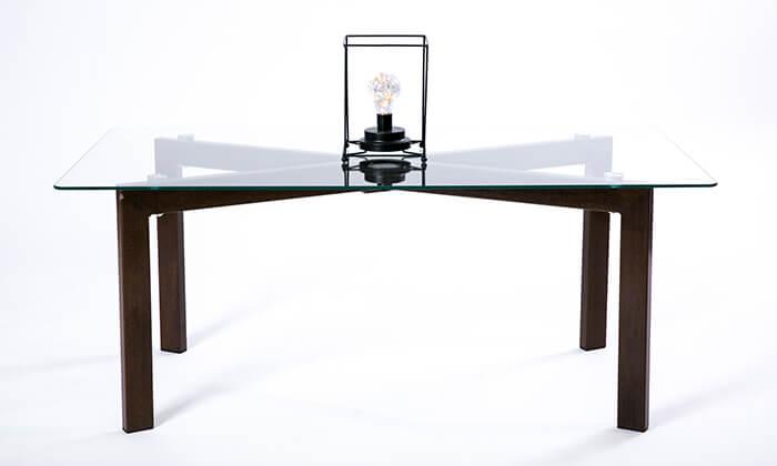 4 שולחן סלון מלבני מזכוכית