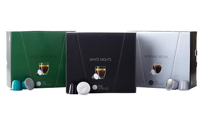 """7 מארז קפסולות קפה Time Capsules במבחר טעמים, כולל כוסות חד""""פ"""