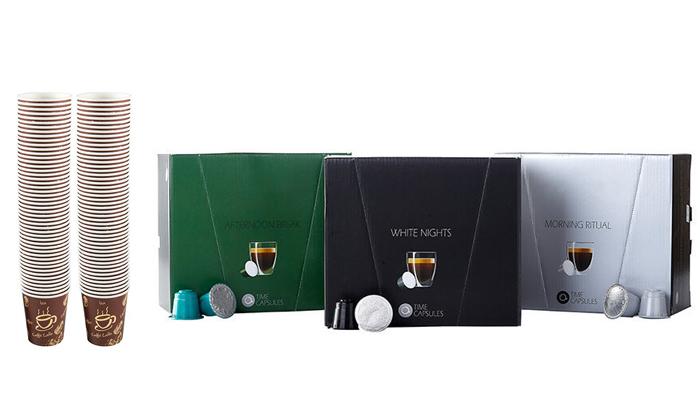 """2 מארז קפסולות קפה Time Capsules במבחר טעמים, כולל כוסות חד""""פ"""