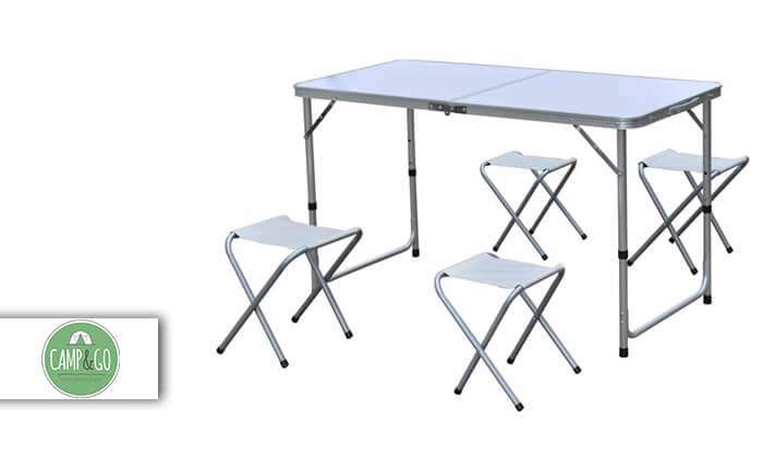 2 שולחן פיקניק מתקפל עם 4 כסאות CAMP&GO