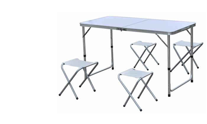 3 שולחן פיקניק מתקפל עם 4 כסאות CAMP&GO
