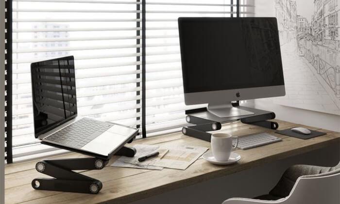 2 מעמד מתכוונן רב מפרקי למחשב נייד כולל 2 מאווררים - משלוח חינם