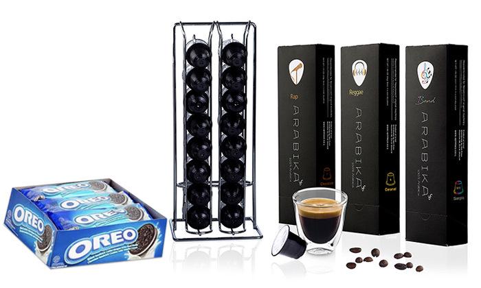 2 מארז קפסולות קפה ARABIKA במבחר טעמים כולל חטיפי אוראו