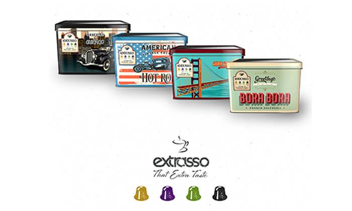 2 100 קפסולות קפה Extrasso באריזת פח