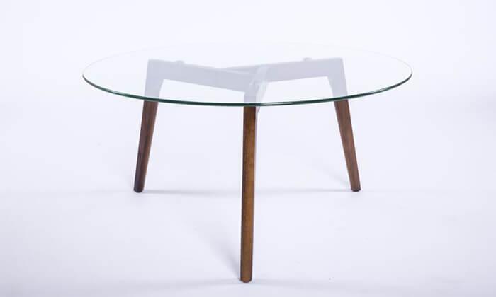 4 שולחן זכוכית עגול