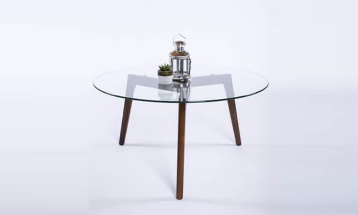 2 שולחן זכוכית עגול