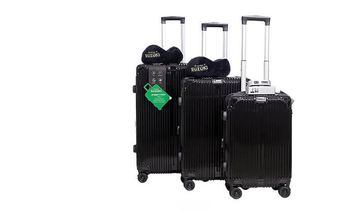 2 סט 3 מזוודות עם זוג כריות ומשקל דיגיטלי